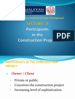 Lecture 2- Participants in the Construction Project