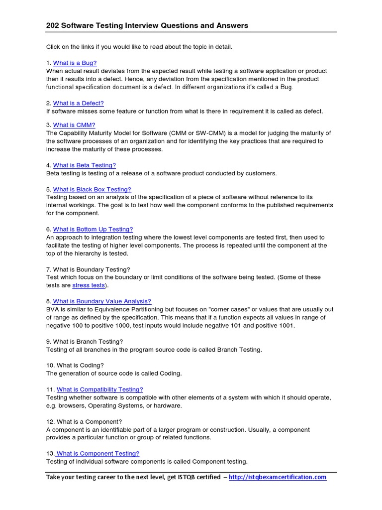 202_Software_Testing_Interview_Questions_and_Answers.pdf | Software Testing  | Quality Assurance