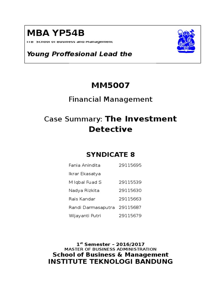 the investment detective case