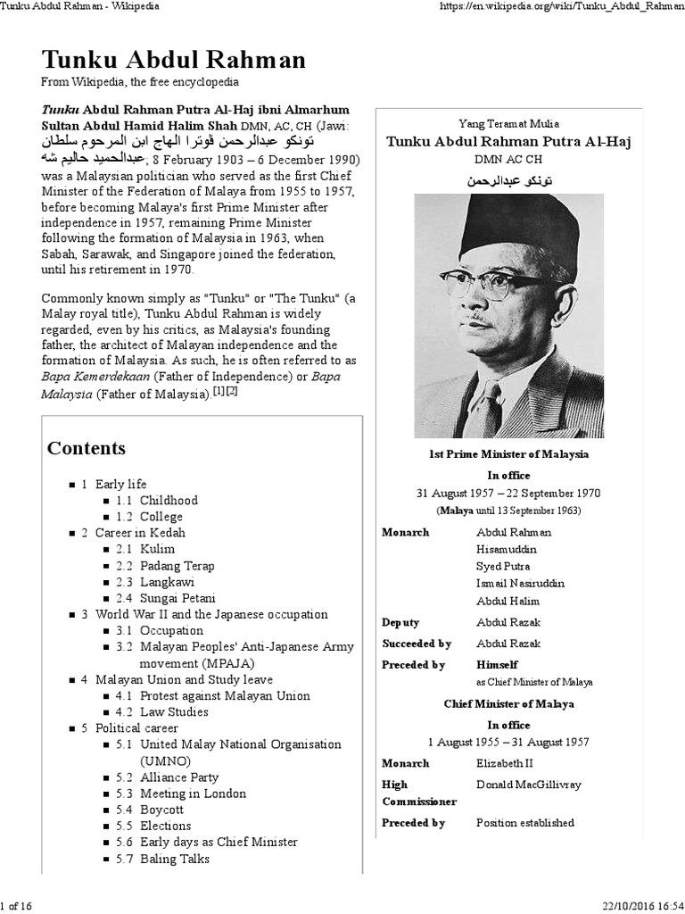 Tunku Abdul Rahman Malaysia Government