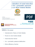 Axial induction factor and pressure distribution on wind turbine blades