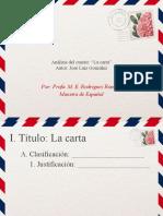 Análisis del cuento La carta - José Luis González