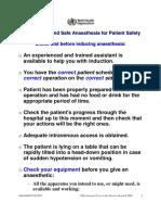 Safe Surgery Anaesthesia