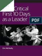 Critical First 10 Days as a Leader