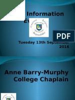 LC2 Parent Information Evening Sept 2015 (GW)