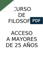 CURSO DE FILOSOFÍA PARA ACCESO A LA UNIVERSIDAD A MAYORES DE 25