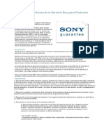Términos y Condiciones de La Garantía Sony Para Productos