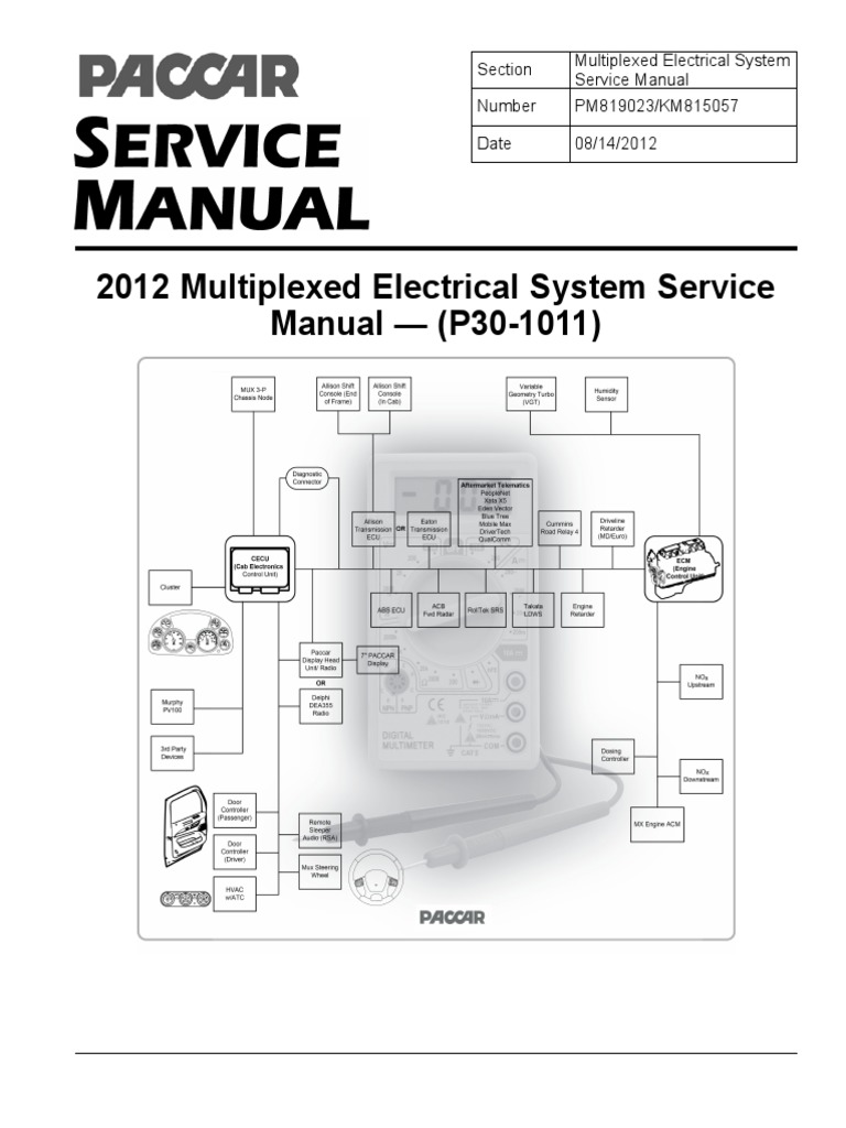 Paccar 2010 Multiplexed Electrical System Sevice ManualP301011 – Kenworth T700 Wiring Diagram