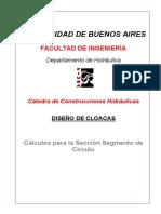 Construcciones Hidráulicas - Cálculos Para La Sección Segmento de Círculo