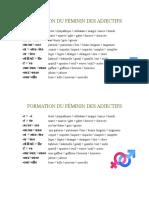 Formation Du Féminin Des Adjectifs