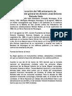 Conmemoración Del 146 Aniversario de Fallecimiento Del General de División José Dolores Estrada Vado