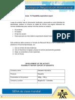 Evidencia 13 Feasibility Exportation Report