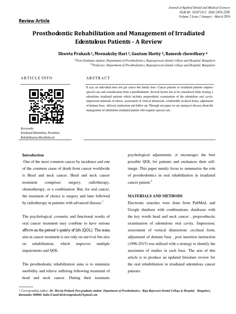 article_1459955174 | Radiation Therapy | Prosthodontics