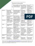 Questionnaire Development Rubric