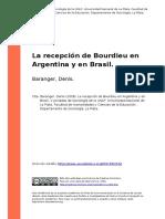 Baranger, Denis, Bourdieu en Argentina y en Brasil