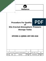 Site Erected Atmospheric Pressure Storage Tank