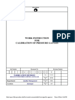 WORK INSTRUCTION for Calibration of Pressure Guages