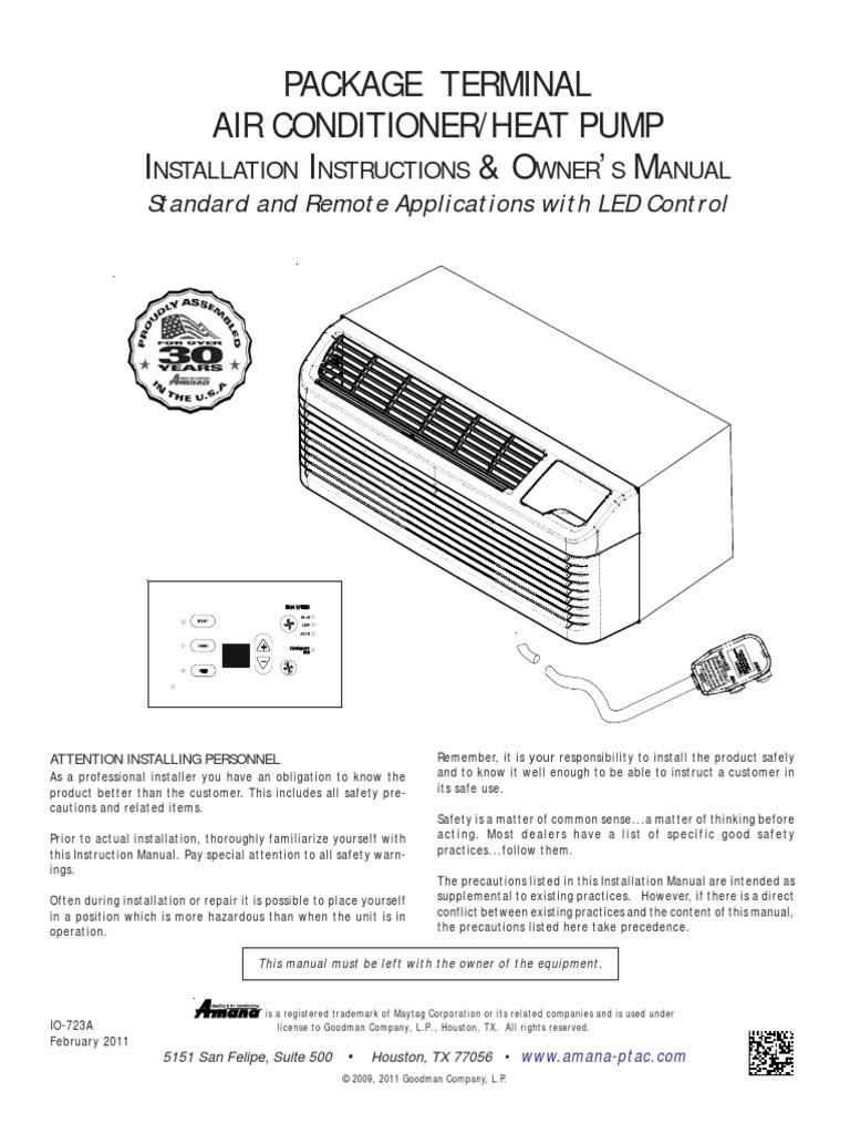 Amana Ac Unitpdf Thermostat Hvac Wiring Diagram For Goodman Package Unit