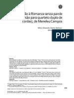 """Introdução à Romanza senza parole """"T'Amo"""" (versão para quarteto duplo de cordas), de Meneleu Campos. Revista Brasileira de Música (2015)"""