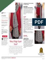 LW5414 Wavy Ridge Super Scarf Free Crochet Pattern