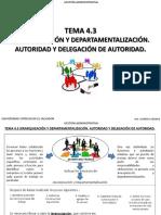 Tema 4.3 Jerarquización y Departamentalización. Autoridad y Delegación de Autoridad-. Autoridad y Delegación de Autoridad-. Autoridad y Delegación de Autoridad