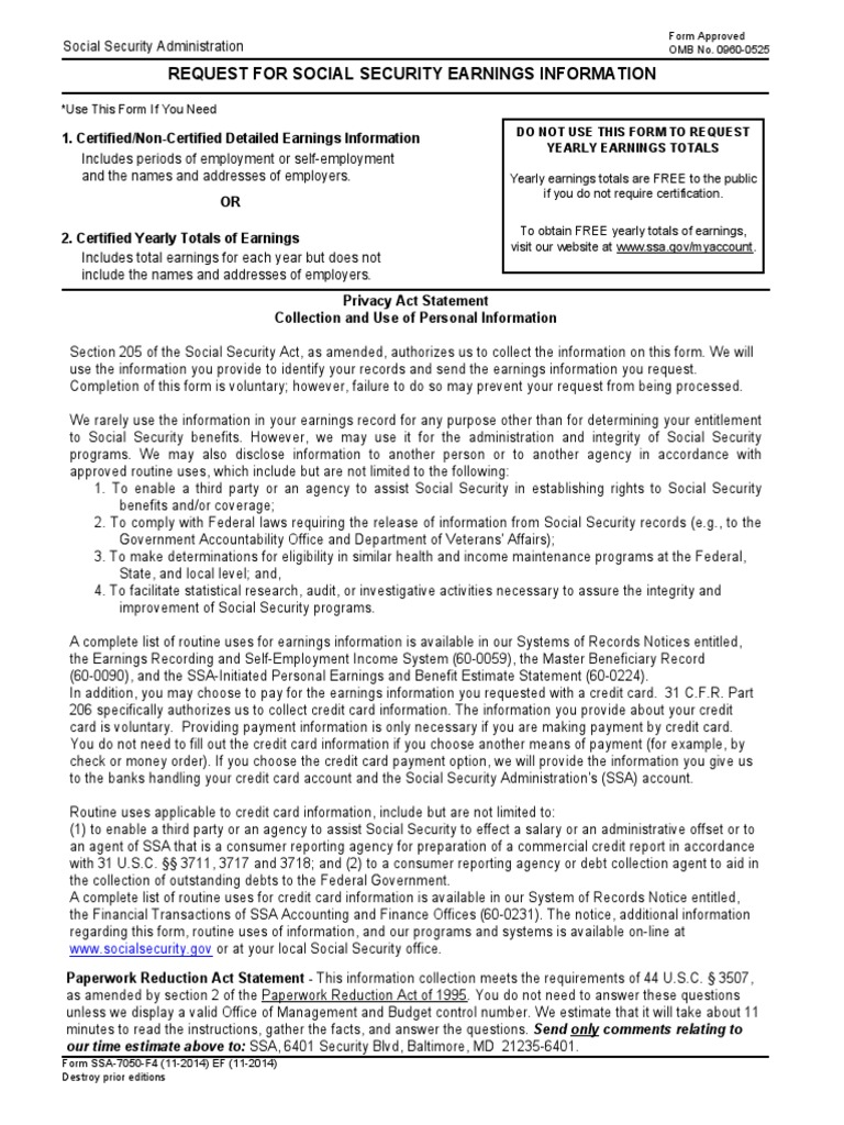 US Social Security Form (ssa-7050) : Wage Earnings Correction ...