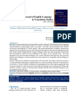 Teachers' Beliefs About Young EFL Learners' Self-Assessment a Case Study of Macedonia