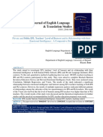Private and Public EFL Teachers' Level of Burnout and Its Relationship With Their Emotional Intelligence a Comparative Study