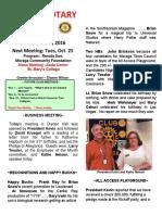 Moraga Rotary Newsletter - Oct 18, 2016