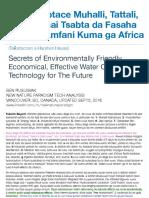 Asirin Tsabtace Muhalli, Tattali, m Ruwa mai Tsabta da Fasaha da ke da Amfani Kuma ga Africa / Secrets of Environmentally Friendly, Economical, Effective Water Clean Technology for The Future