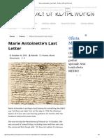 Marie Antoinette's Last Letter - History of Royal Women