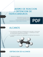 Mecanismo de Reaccion en La Obtencion de Hidrocarburos