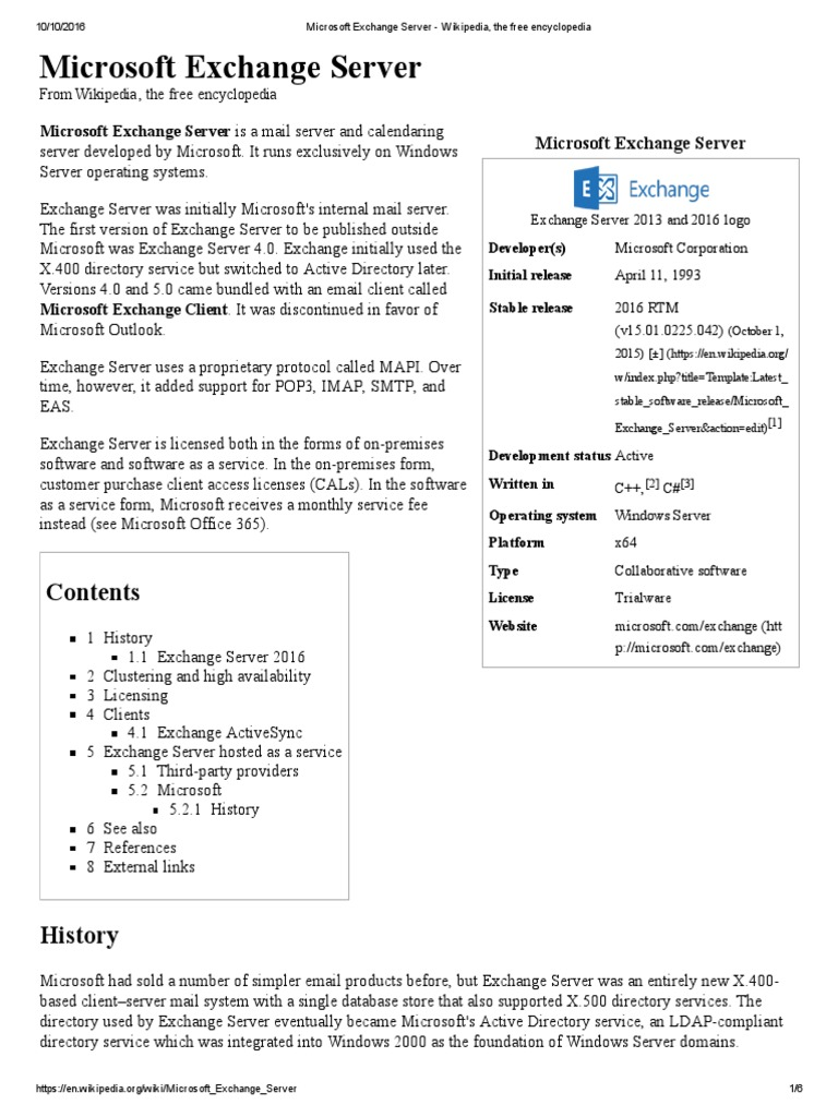 Microsoft Exchange Server - Wikipedia, The Free Encyclopedia