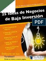 25 Ideas de Negocios Baja Inversion