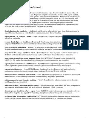 Aspen Dynamic Simulation Manual | Simulation | Fluid Dynamics