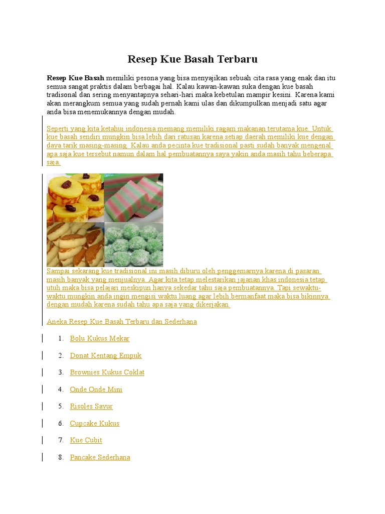 Resep Kue Basah Terbaru