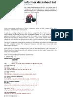 TV Flyback Transformer Datasheet List - Belajar SEO