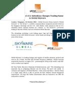 Global Invacom's U.S. Subsidiary Changes Trading Name to Global Skyware
