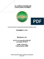 Information and Disclosure Statement for Medical Marijuana Inc