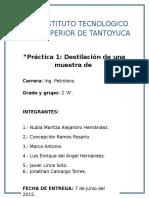 Practica 1, Destilación