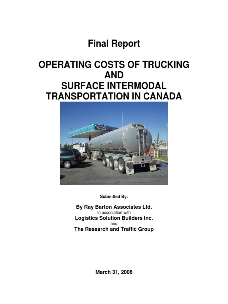 Tc 2008 Operating Costs of Trucks in Canada in 2007   Semi