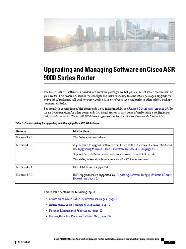 Upgrading and Managing Software on Cisco ASR 9000