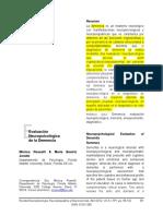 Evaluación Neuropsicológica de Demencia