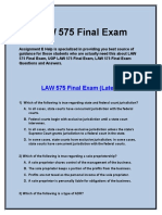 LAW 575 Final Exam -| LAW 575 Final Exam Questions and Answers | business law 421 final exam answers - Assignment E Help