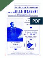 Sheets-Gaetano D. Bratti - Médaille d'Argent (Medaglio d'Argento) (Valse Variation)