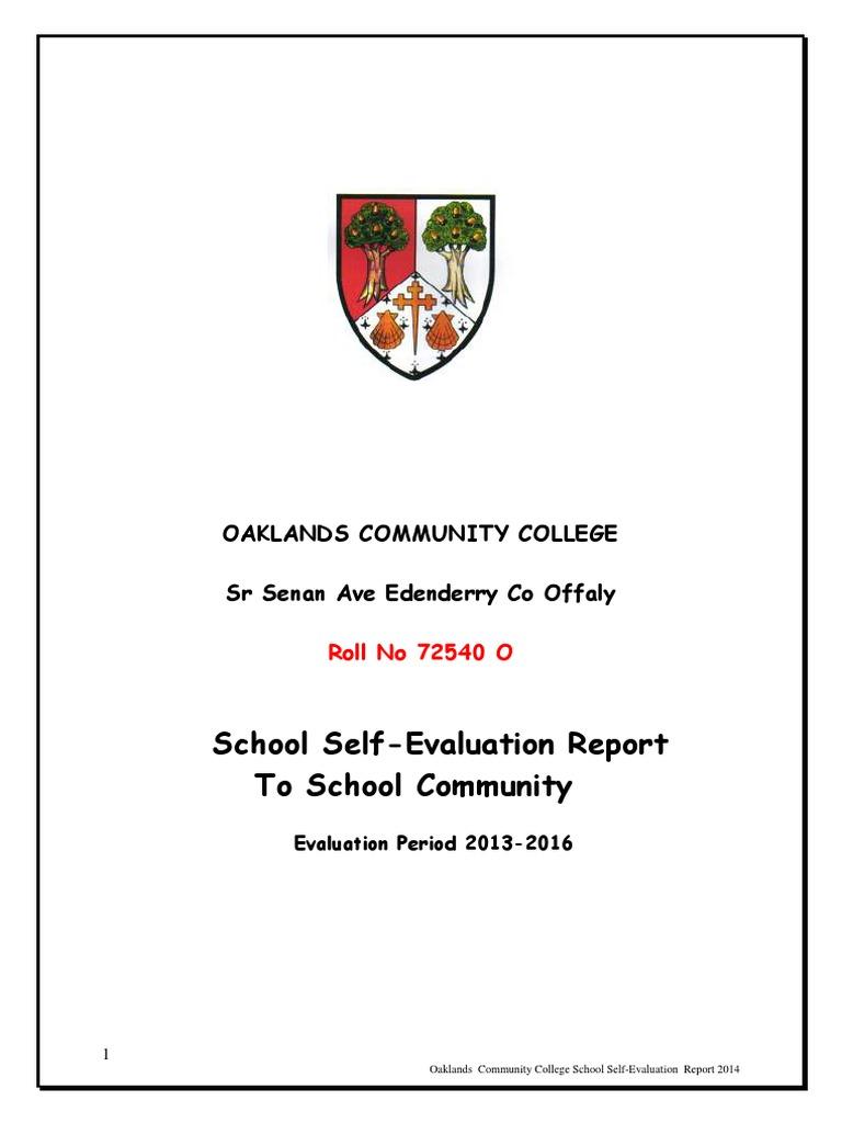 School Self Evaluation Report 2013 2016