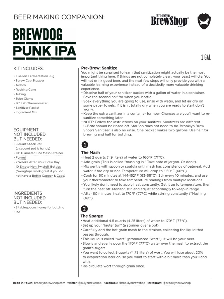 Brooklyn Brew Shop Punk Ipa Instructions Brewing Hops