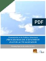 Transmisión en La Política Monetaria. PROGRAMAS DE EXPANSION. DATOS ACTUALIZADOS
