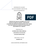 Propuesta de Planta de Tratamiento Para Aguas Residuales Domésticas Urbanas y Ampliación Del Alcantarillado Sanitario en Zonas Ubicadas Al Nor-Oriente Del Casco Urbano en El Municipio de Queza