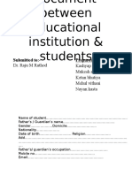 Agreement Document Between Educational Institution & Students
